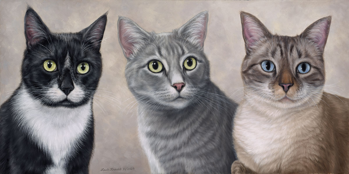 Sylvester, TuTu, and Cooper, Cats, 18x36 Oil on Canvas